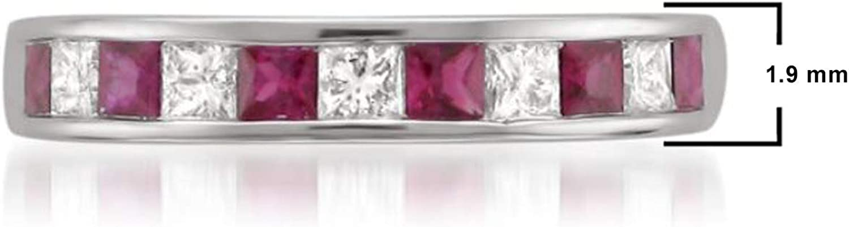 0.48 to 0.61 Carat Diamond,14K Gold Channel Set Princess-cut Diamond Wedding Band (H-I, I1-I2) Real Diamond for Women  by La4ve Diamonds Gift Box Included (Ruby & Blue Sapphire,White & Yellow Gold)