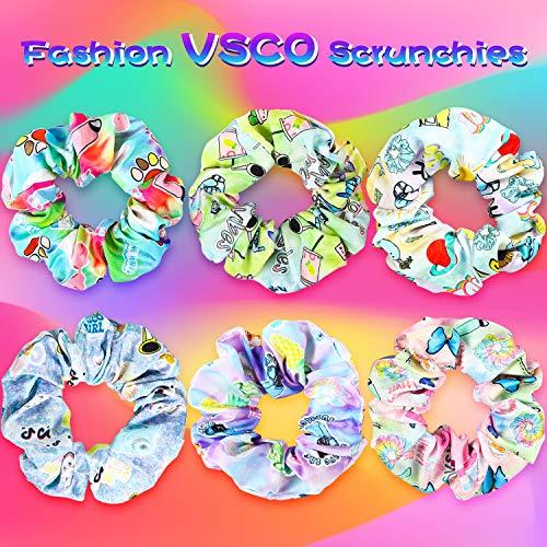 PANTIDE 18Pcs VSCO Scrunchies VSCO Starter Stuff Kit-Cute VSCO Pattern Designed Hair Scrunchies, Colorful Polyester Pongee Ponytail Holder, Elastic Hair Ties Ropes Accessories for Girls 4