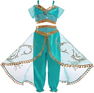 Children's Dress Aladdin's Lamp Cosplay Costume Jasmine Princess Girl Dress Role Costume Two-piece