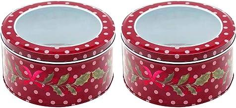 Cabilock 2 szt. świąteczne pudełka na ciasteczka okrągłe pudełka na słodycze z okienkiem pudełko do przechowywania na Boże...