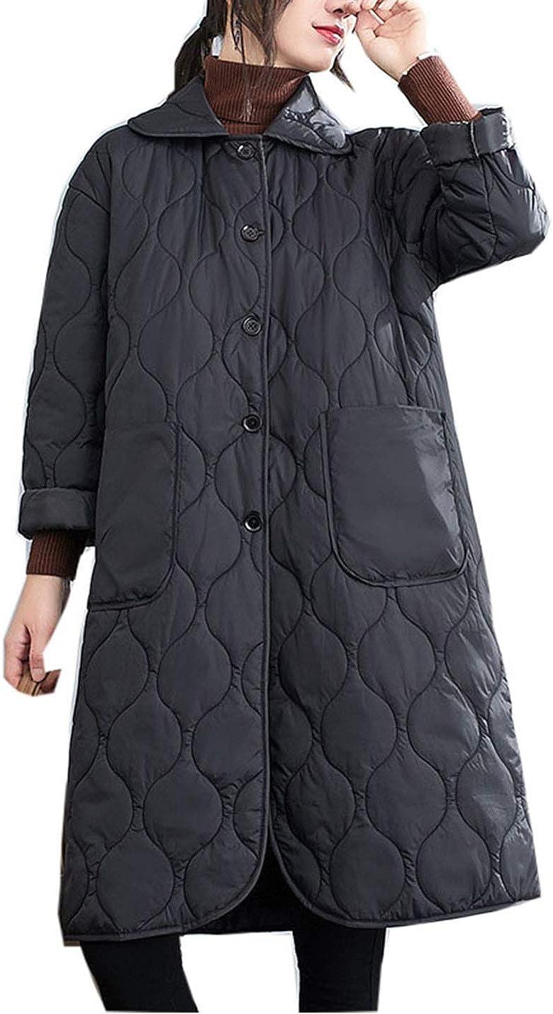 PAODIKUAI Women Winter Warm Lapel Mid Long Quilted Jacket Down Puffer Jackets