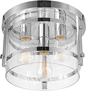 Globe Electric 60324 Wexford 3-Light Flush Mount Ceiling Light, Chrome, Clear Glass