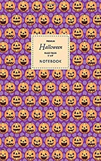 Halloween Notebook - Ruled Pages - 5x8 - Premium: (Purple Edition) Fun Halloween Jack o Lantern notebook 96 ruled/lined pa...