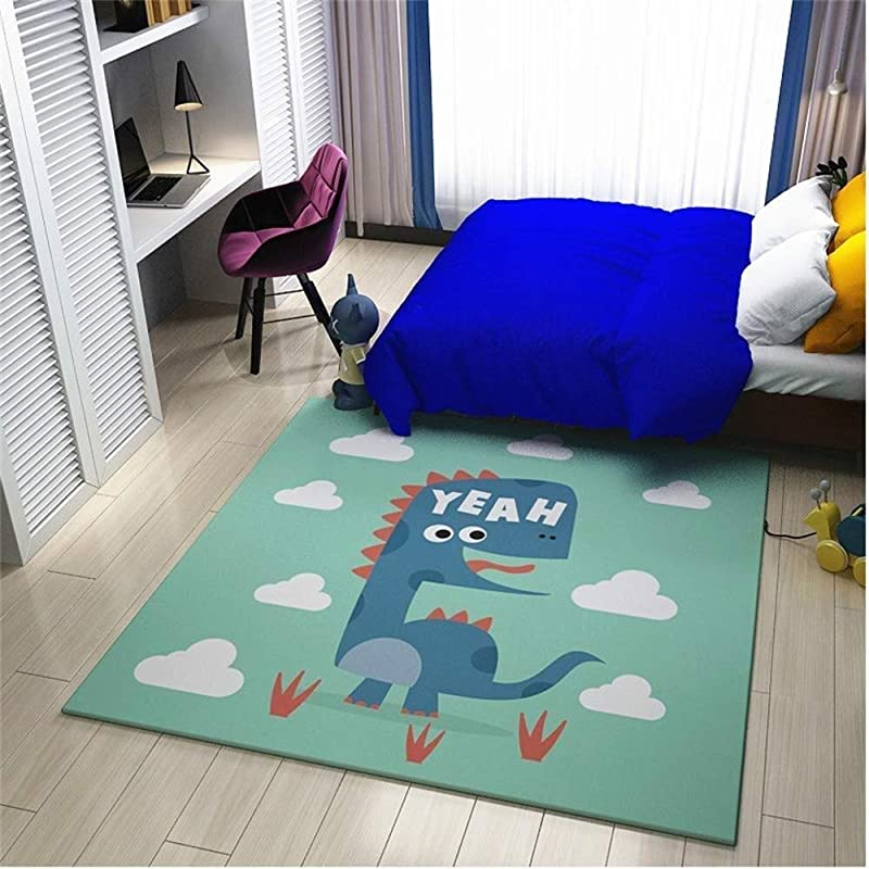 Carl Artbay Rug Study Kid Boy S Girl S Crawl Mat Flannel Crystal Super Soft No Mites Baby S Game Pad Foot Floor Mat Blue Dinosaur Size 100x100cm