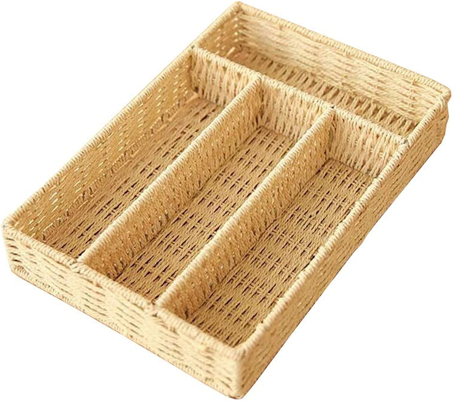 MUMA Storage Baskets Paper Rope Weaving Handmade Fruit Food Snack Box 4 Grid (color   Beige)