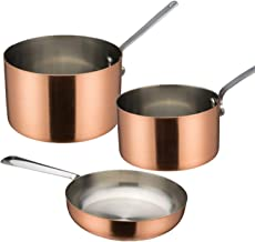 Tiger Chef Small Copper Pot Set- 5.5 inch Egg Pan, 28 Ounce Sauce Pan (.875 Quart), 10 Ounce Saucepan (.31 Quart)- Copper ...