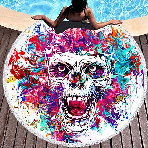 BCDJYFL Impresas Toalla De Playa Calavera De Pintura Al Óleo Toallas De Playa Microfibra Toallas De Yoga para Exteriores Suaves Y Absorbentes.-Diámetro: 150Cm