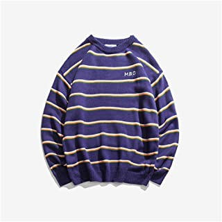 LIUFULING Men's Striped Patch Letter Round Neck Knit Casual Sweater (Color : Purple, Size : L)