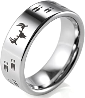 SHARDON Men's 8mm Polished Tungsten Ring with Engraved Deer and Tracks