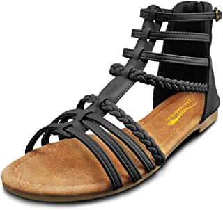 Gladiator Sandals for Women │ Comfortable Black Flat-Sandal with Slingback Strap │ Cute Sparkly Ladies Buckle Zip Thong Casual Open Toe Ankle Gladiator Flat Sandal Shoes