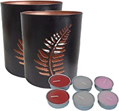 Ruhi Collections Pair of Tea light Votive Holders with set of 6 candles
