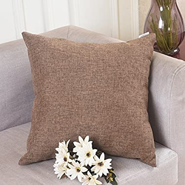 HOME BRILLIANT Solid Linen Euro Throw Pillowcase Cushion Cover for Living Room, 20 x20 , Brown