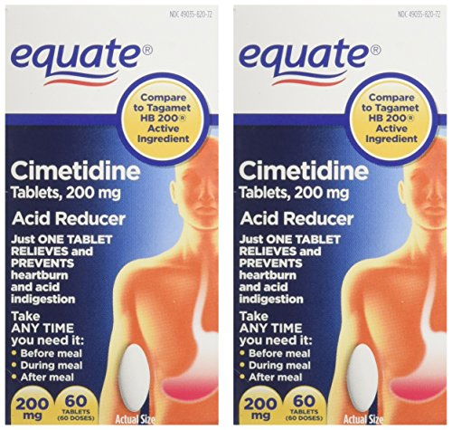 Equate - Heartburn Relief - Acid Reducer, Cimetidine 200 mg, 60 Tablets (Compare to Tagamet HB 200), Pack of 2