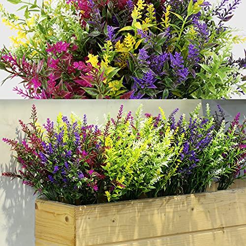 12 Manojos Arbustos Artificiales Lavanda Verde Artificial Flores Artificiales Plantas Resistentes a...