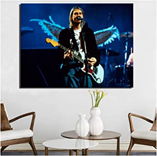 Fender Kurt Cobain Mustang Sonic Blue Posters e impresiones Cuadros decorativos de arte de pared para la decoración del hogar de la sala de estar-50x70cm Sin marco
