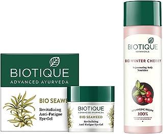 Biotique Bio Seaweed Revitalizing Anti Fatigue Eye Gel, 15g & Biotique Bio Wintercherry Lightening And Rejuvenating Body N...