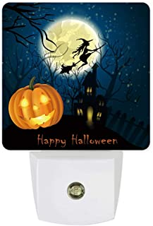 Plug-in Night Lights Happy Halloween Pumpkin Lantern and Flying Wtich Over Castle LED Night Lamp with Auto Dusk-to-Dawn Sensor Warm White Light for Bedroom/Bathroom/Hallway/Kid's Room