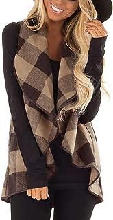 LANGY LIST S-2XL Womens Sleeveless Vest Plaid Hem Drape Open Front Cardigan