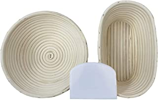 2x Bread Proofing Baskets (23cm + 26cm) + Free Linen Liner and Plastic Dough Scraper - 1x 23cm Round + 1x 26cm Oval proofi...