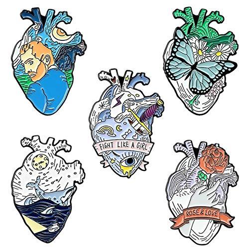 Alfileres de corazón humano anatómico Pintura al óleo Mundo del océano Mariposa Rosa Amor Arte Corazón Esmalte Pin de solapa Joyería médica Insignia de órgano, Conjunto