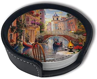Rue Di Rivoli Paris Coasters For Drinks With Holder, Leather Coasters Set Of 6, Round Cups Mugs Mat Pad For Home Kitchen