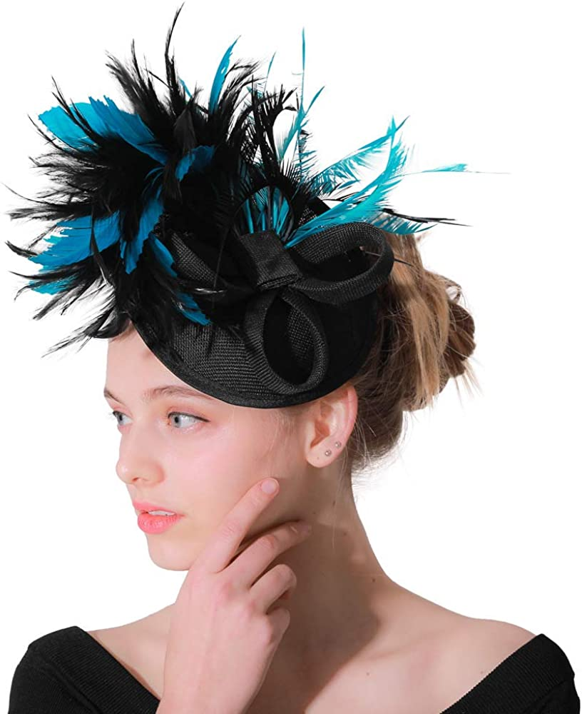 Sinamay Fascinator Pillbox Hat Headband Hair Clip for Cocktail Tea Party Bridal Wedding Hat
