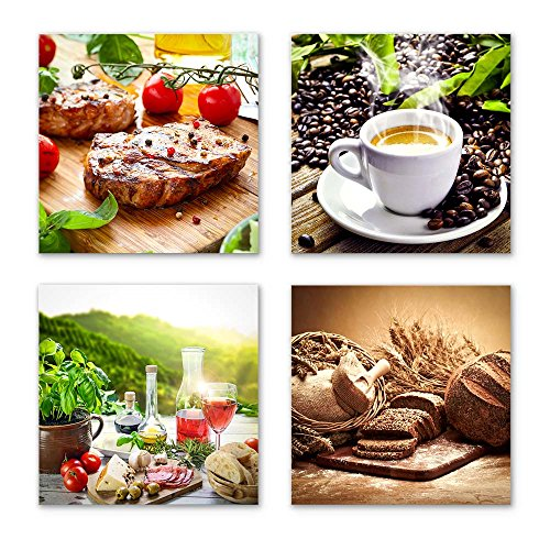 Küchen Bilder Set B schwebend, 4-teiliges Bilder-Set jedes Teil 29x29cm, Seidenmatte Optik auf Forex, moderne Optik, UV-stabil, wasserfest, Kunstdruck für Büro, Wohnzimmer, Deko Bild, Kaffee Obst Wein