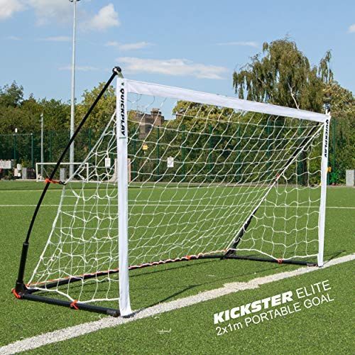 QuickPlay Kickster Elite Soccer Goal 2x1M – Ultra Portable Indoor & Outdoor Football Goal Features Weighted Base [Single Goal] (2 x 1M / 6.5 x 3.2')