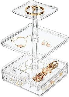 mDesign Organizador de Joyas con 3 estantes y 1 Caja organizadora – Joyero para Collares, Pulseras, Pendientes, Anillos y más – Expositor para joyería Vertical de plástico – Transparente