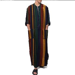 Camicie da Notte da Uomo per Dormire Pigiama Manica Lunga in Cotone Homewear A Righe Loungewear Maschile Indumenti da Notte