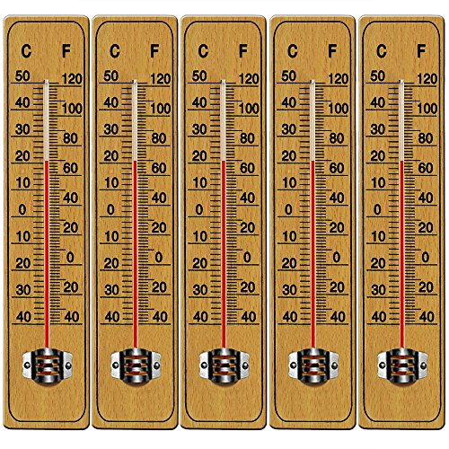 Deuba 5 x Holzthermometer Set Zimmerthermometer Wandthermometer Thermometer Temperatur Außenthermometer Gartenthermometer 22cm