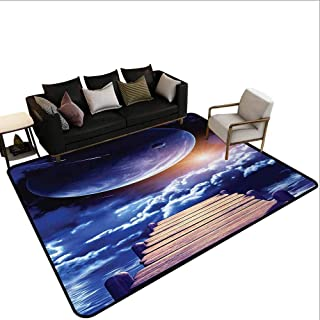 MikiDahome Collection Area Rug, Watching A Meteor Rain from A Wooden Dock Under The Sunlight Image, 23.5