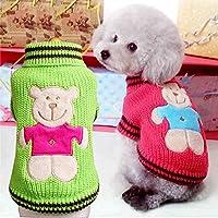 犬服 セーター ニットウェア あたっかい 犬用防寒着 キャラクター クマ 保温性が抜群で、伸縮性が優れ ワンちゃん服 犬の服 犬洋服 (XXS, グリーン)
