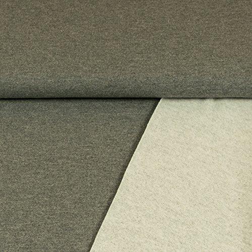 Sweatshirt Stoff Uni anthrazit Sweat weiche angeraute Rückseite einfarbig kuschelig Meterware - Preis Gilt für 0,5 Meter