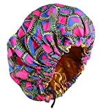 Women Turban Cap Adjustable African Style Large Size Printing Fabric Satin Lined Bonnets (Rose)