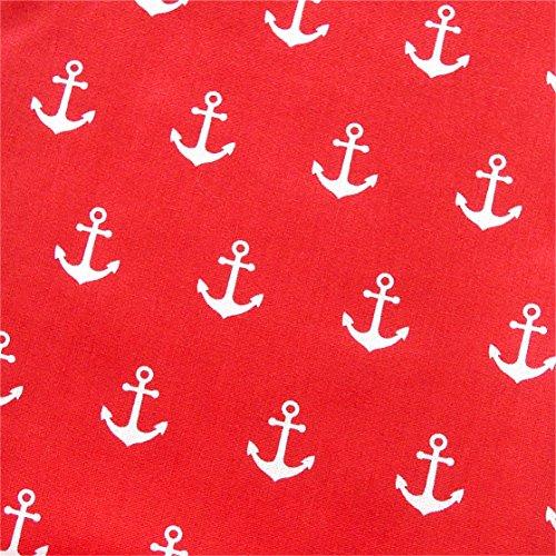 0,5m Stoff Anker rot/ weiß Motivgröße 2,5cm Meterware 100% Baumwolle 1,4m breit