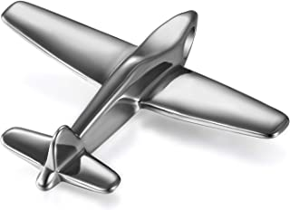 Mirror Stainless Steel Bikers Airplane Aircraft Model Pendant Necklace for Men Boys,Silver