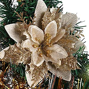 RECUTMS 10 Pcs Golden Poinsettia Artificial Christmas Flowers with Clips and Stems Glitter Christmas Tree Ornaments for Xmas Wedding Party Wreath Decor