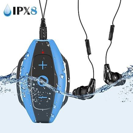 AGPTEK mp3 Subacqueo Nuoto 8GB, S05 Waterproof Clip Lettore Mp3 con Cuffie Impermeabile IPX8 per Piscina e Altri Sport, Blu