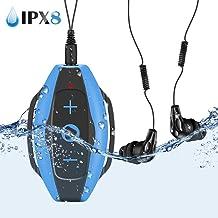 Mp3 Acuatico Natacion 8GB, AGPTEK S05 Reproductor Mp3 Impermeable IPX8 con Clip y Auriculares Waterproof para Nadar, Deporte, Azul