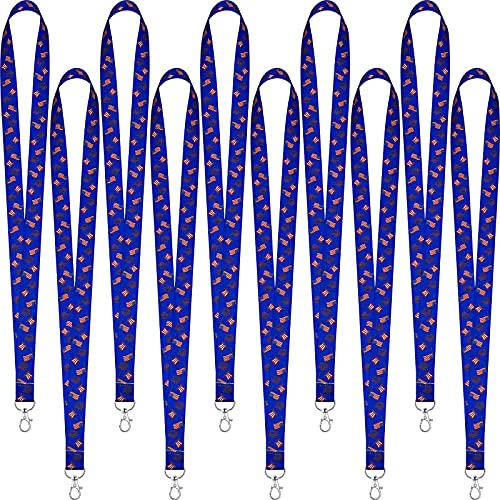 10 Pieces Independence Day Lanyard American Flag Key Lanyard Holiday Themed Lanyard with Swivel Hook for Keychain ID Badge Holder
