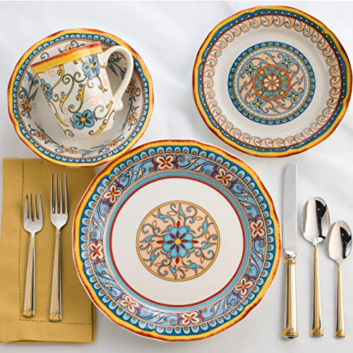 EuroCeramica Duomo Collection 16 Piece Artisan Dinnerware Set Handcrafted Italian Style Dishes, Service for 4, Floral Design, Multicolor