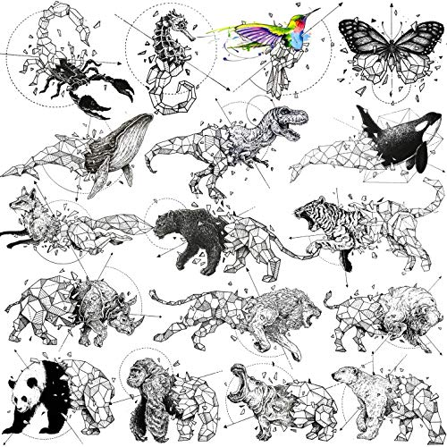 TASROI 17 Sheets Geometric Arrows Animals Temporary Tattoos For Women Men Adults Tiger Black Panther Lion Bear Waterproof Small Fake Tattoo Temporary For Kids Diamonds Whale Panda Scorpion Tatoos Set