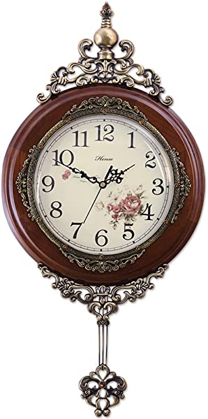 HENSE 13 Inch Antique Retro Elegant Decorative Wood Clocks Ultra Mute Silent Quartz Movement Wooden Wall Clock With Swinging Pendulum HP06 Brown
