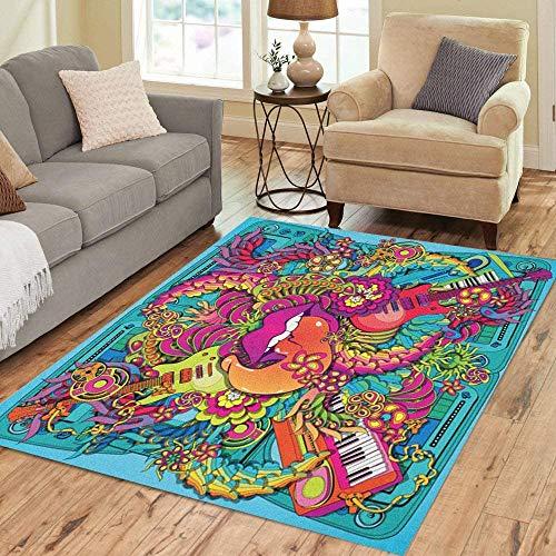 qinzuisp Floor Mat Colorido Hippie Vibrante Música Psicodélica Labios Pop Kitsch Decoración para El Hogar Área Viva Alfombra Alfombra Alfombra Alfombra Moderna 150X210Cm Moda Personalizada