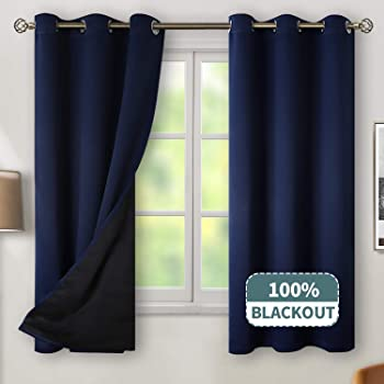 BGment Thermal Insulated 100% Blackout Curtains for Bedroom with Black Liner, Double Layer Full Room Darkening Noise Reducing Grommet Curtain (42 x 63 Inch, Navy Blue, 2 Panels)