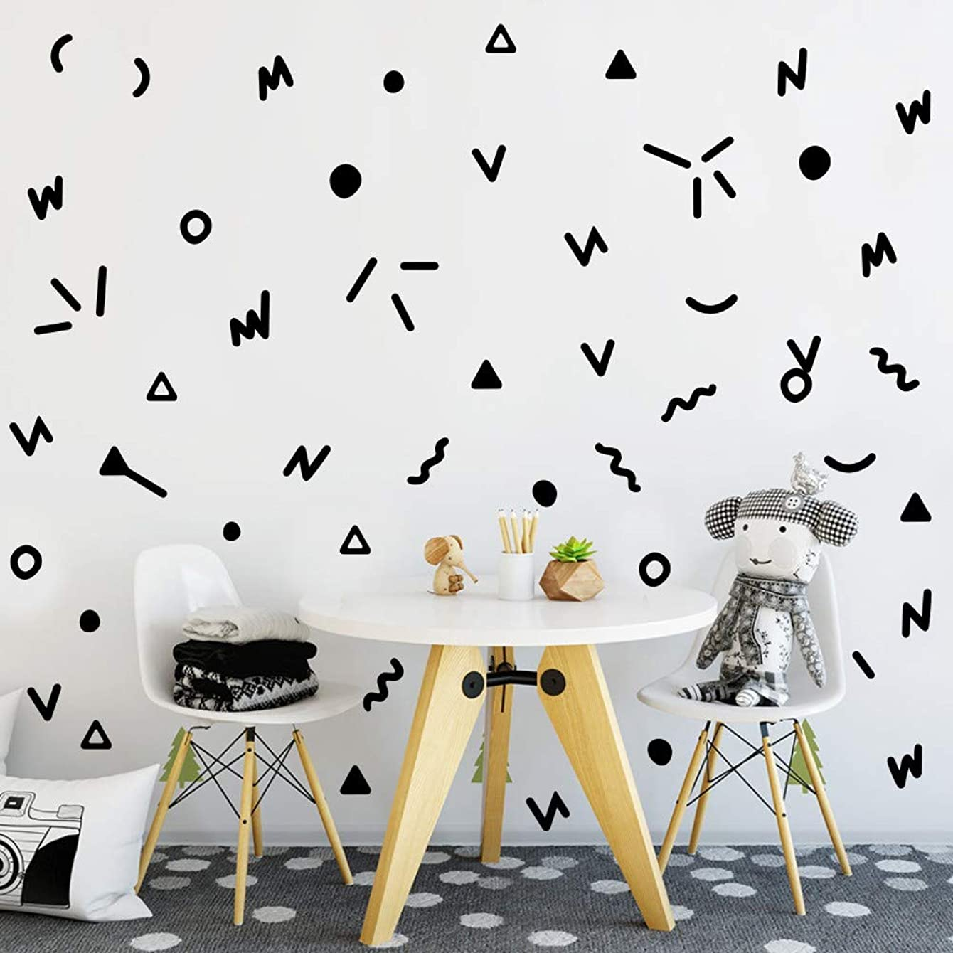 Simple Black Geometric Wall Sticker Primary Vinyl Wall Decal Doodle Wall Stickers for Nursery Decoration(96 Pcs Black Stickers)