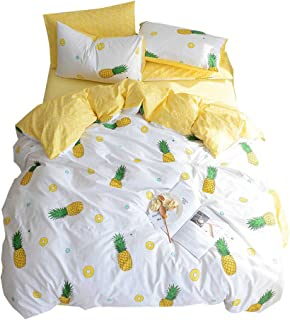OTOB Soft 100% Cotton Bedding Sets 3 Piece Luxury Fruit Pineapple Print Kids Duvet Cover Set with Pillowcases Zipper Ties, Best Teen Girls Bedding Gifts Set Children Bed Set,No Comforter(Yellow, Twin)