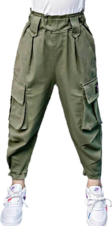 Loloda Kids Girls Cargo Jogger Pants Sports with Pockets Elastic Waist Athletic Trousers Street Hip Hop Dance Sweatpants