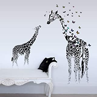 Giraffe Butterfly DIY Vinyl Wall Stickers for Kids Rooms Home Decor Art Decals Wallpaper Decoration